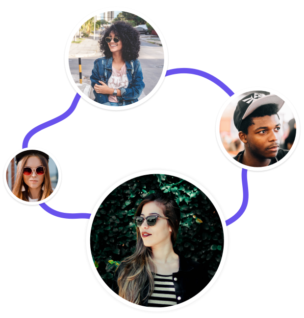 four people in different circles connected by a line